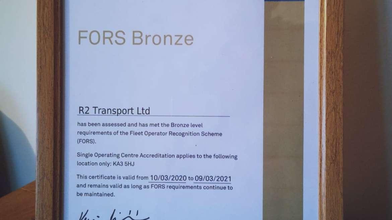 R2 Transport Ltd Awarded FORS Bronze